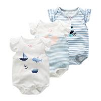 婴儿宝宝连体衣服春季爬爬服1岁3个月款休闲短袖三角哈衣