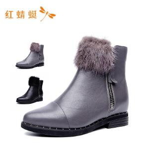 【专柜正品】红蜻蜓新款毛球纯色侧拉链牛皮革女靴子