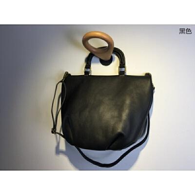 新款头层牛皮褶皱饺子包休闲大容量女包大包软牛皮纯皮手提包 黑色