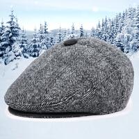 秋冬季新款男士前进帽中老年休闲鸭舌帽户外护耳加厚加棉帽