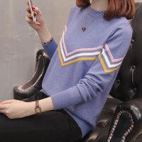 针织衫女装毛衣秋季2018新款短款毛衣圆领长袖外穿百搭潮套头线衣