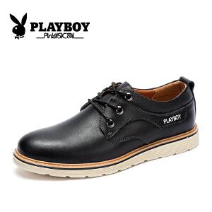 【17年新款】花花公子男鞋休闲皮鞋牛皮透气板鞋英伦时尚潮流商务鞋子 征-CX39209