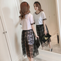 2018韩版显瘦时尚哺乳连衣裙+网纱两件套套装辣妈款夏季哺乳上衣