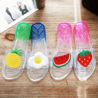 拖鞋女浴室防滑洗澡家居家家用室内塑料可爱透明水晶凉拖