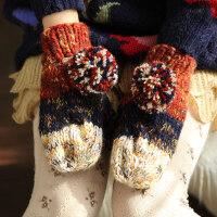 加厚加绒保暖手套韩版可爱冬季学生女粗毛线羊毛连指手套