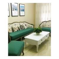 美式实木沙发欧式复古做旧布艺家用沙发客厅单人双人三人沙发组合#43
