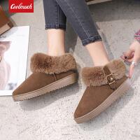 【新品狂欢价】Coolmuch女棉鞋2019新款低帮加绒保暖雪地鞋女士休闲套脚棉鞋FL9302