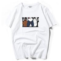 男式短袖T恤100%纯棉半袖港风潮牌体恤宽松夏季大码57