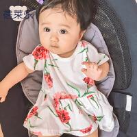 婴儿童连体衣服童宝宝新生儿季0岁3个月短袖公主哈衣新年
