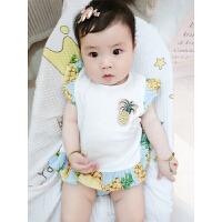 婴儿连体衣服薄款包屁衣宝宝哈衣新生儿季无袖三角运动服