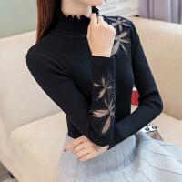 半高领蕾丝针织衫弹力打底衫套头毛衣女显瘦2018秋冬新款女装上衣