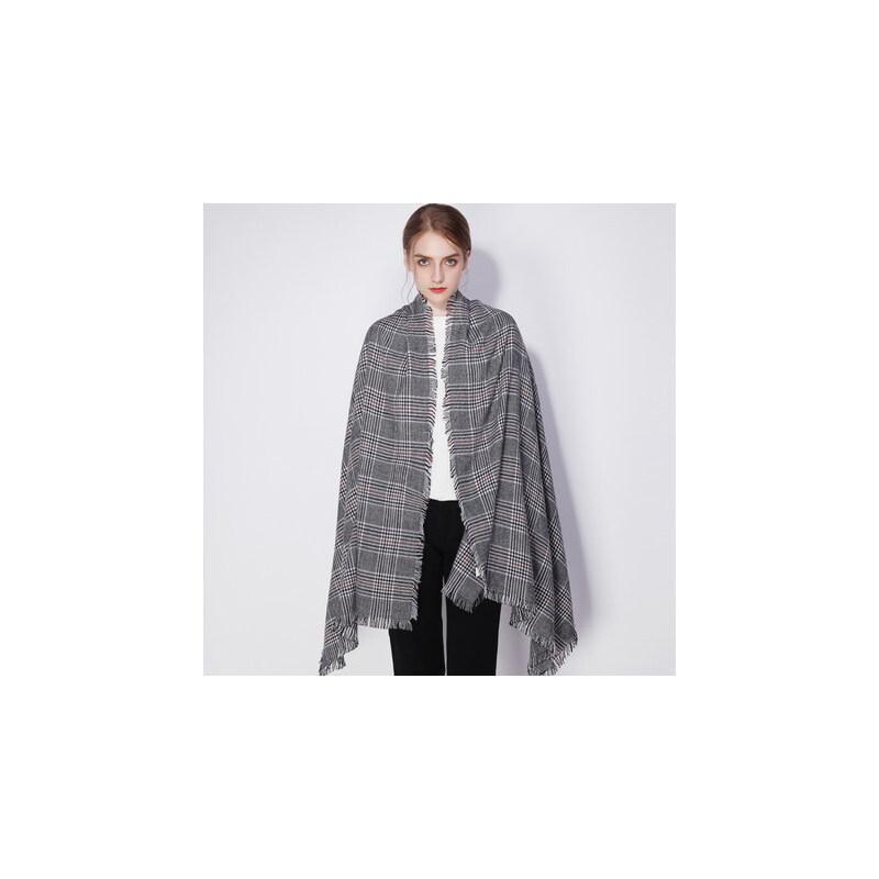 时尚千鸟格英伦披肩羊毛羊绒网红格子围巾女 品质保证 售后无忧