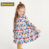巴拉巴拉童装女童连衣裙小童宝宝碎花裙秋装新款长袖儿童纯棉