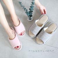 日式室内防滑地板拖鞋四季棉麻拖鞋女夏季家居春秋情侣居家用凉拖