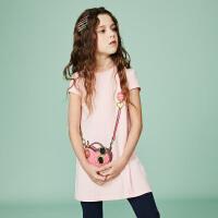 【3折价:74.7元】souhait水孩儿童装夏季新款连衣裙半袖裙时尚挎包连衣裙SHNXGD11CZ654