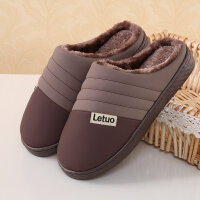 冬季条纹棉拖鞋女男情侣居家室内木地板防滑厚底月子保暖拖鞋 36/37适合35-36穿