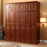 实木衣柜现代简约中式3456门整体平开门加顶卧室组装家具经济型 6门 组装