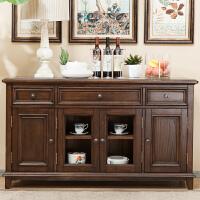 美式乡村家具实木餐边柜欧式简约储物柜卧室电视柜经典美式家具 黑胡桃色 4门