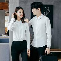 情侣装2017秋冬新款韩版男女修身白色黑色衬衫工作服学生班服衬衣