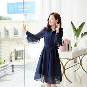 时尚连衣裙女2018初秋新款韩版显瘦中长款女装女人味气质打底裙子