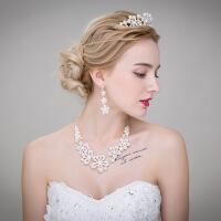 新娘头饰套装日韩式结婚皇冠项链耳环饰品三件套婚纱配饰 图片色 均码