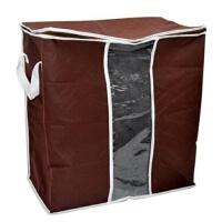 卡秀 衣物收纳袋 咖啡色竹炭可视棉被衣物储存袋 90升 L8110