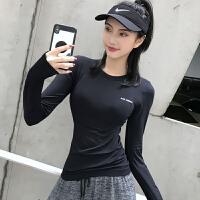 健身服女紧身高弹运动上衣跑步长袖T恤速干衣性感网红瑜伽服秋