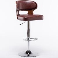 实木吧台椅家用现代简约靠背欧式升降旋转高脚凳前台收银酒吧椅子