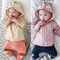 新款婴儿上衣春秋季满月外套新生儿拉链卫衣男女宝宝全棉春装01岁