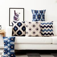 蓝色伊卡简约东方条纹中式复古飘窗抱枕红木沙发靠垫办公室午睡枕
