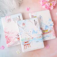 32k唯美中国风笔记本子手账小清新古风彩页创意记事本学生用日记本手账本磁扣搭扣手帐本