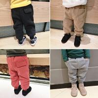 男女儿童宝宝超厚加绒糖果色卫裤幼儿园加厚绒运动裤打底卫衣裤子