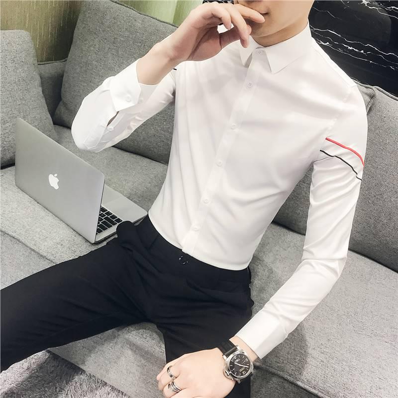 男士衬衫修身韩版商务免烫纯色衬衣职业正装白衬衫男长袖 发货周期:一般在付款后2-90天左右发货,具体发货时间请以与客服协商的时间为准