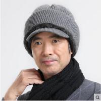 中老年加厚保暖针织毛线帽 帽子围脖一体舒适保暖 羊毛加绒加厚