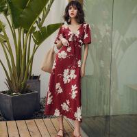 夏仙冷淡风连衣裙复古气质红色沙滩裙V领印花长裙度假裙子女