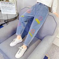 女童牛仔裤春秋洋气儿童裤子外穿春装大童休闲长裤