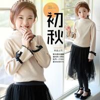 韩版童装秋冬女童打底衫纯棉 喇叭袖小立领长袖T恤 宝宝纯色上衣