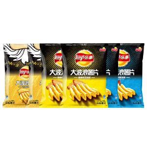 乐事薯片145克*6包 大波浪(鸡翅*2+烤鱿鱼*2+芝士培根*2)