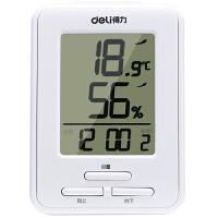 得力9018 家用/办公室内电子温度计/湿度计 电子闹钟 装饰摆件
