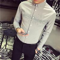 新款白衬衫男长袖韩版潮流小清新发型师衬衣修身型韩国帅气衣