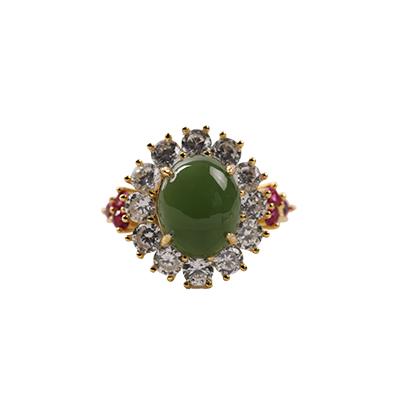 梦 梵雅 戒指 银戒指 和田碧玉戒指豪华款支持礼品卡  戒圈活口大小可调节