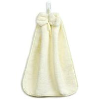 [当当自营]三利 珊瑚绒蝴蝶结挂式擦手巾30×44cm 象牙色 加厚不掉毛强吸水 浴室厨房居家多用途抹手毛巾