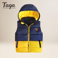 TAGA童装男童冬季无袖背心 新中大童儿童保暖羽绒马甲休闲坎肩