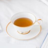 奇居良品 下午茶陶瓷茶具 伊瓦尔白色金边骨瓷咖啡杯碟套装