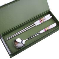 陶瓷柄不锈钢筷子勺子礼品餐具两件套装创意节日婚庆礼盒学生旅游餐具 花色随机筷子勺子