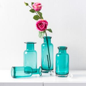 奇居良品 ins风简约透明蓝绿色玻璃花瓶装饰花插干花水培植物瓶子