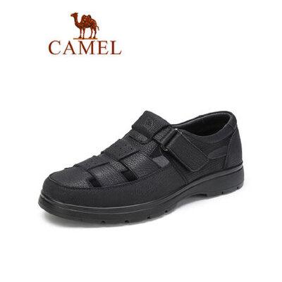 camel骆驼男鞋2019夏新款镂空皮鞋男透气休闲轻盈凉鞋牛皮中老年爸爸鞋
