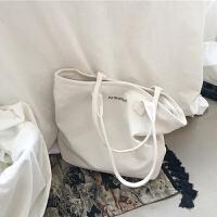 帆布包女单肩韩国日系托特包简约百搭大容量手提大包