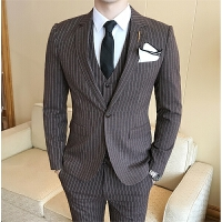 2017新款绅士英伦韩版修身条纹西服套装男三件套咖啡色正装西装潮