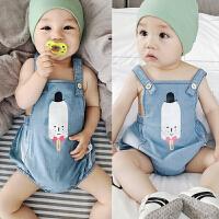 婴儿夏季全棉牛仔2三角哈衣3宝宝无袖吊带6纯棉9包屁衣爬服0-1岁